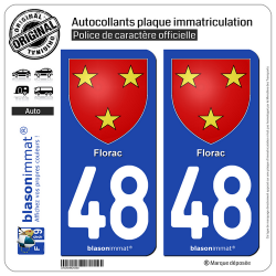 2 Autocollants plaque immatriculation Auto 48 Florac - Armoiries