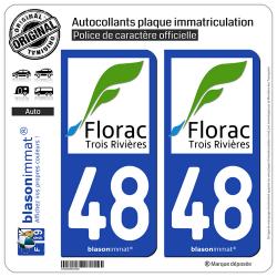 2 Autocollants plaque immatriculation Auto 48 Florac - Ville