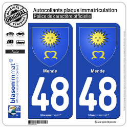 2 Autocollants plaque immatriculation Auto 48 Mende - Armoiries