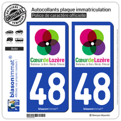 2 Autocollants plaque immatriculation Auto 48 Mende - Agglo