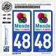 2 Autocollants plaque immatriculation Auto 48 Mende - Tourisme