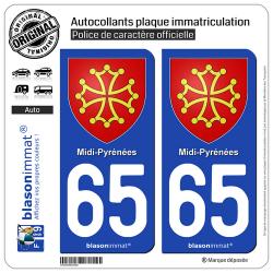 2 Autocollants plaque immatriculation Auto 65 Midi-Pyrénées - Armoiries