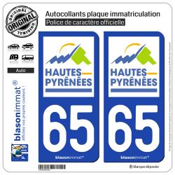 2 Autocollants plaque immatriculation Auto 65 Hautes-Pyrénées - Département