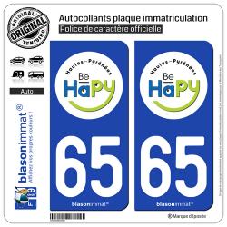 2 Autocollants plaque immatriculation Auto 65 Hautes-Pyrénées - Tourisme