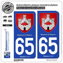 2 Autocollants plaque immatriculation Auto 65 Bagnères-de-Bigorre - Armoiries