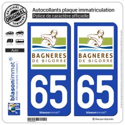 2 Autocollants plaque immatriculation Auto 65 Bagnères-de-Bigorre - Ville