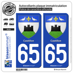 2 Autocollants plaque immatriculation Auto 65 Castillon - Armoiries