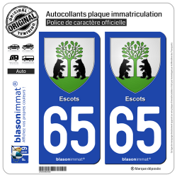 2 Autocollants plaque immatriculation Auto 65130 Escots - Armoiries