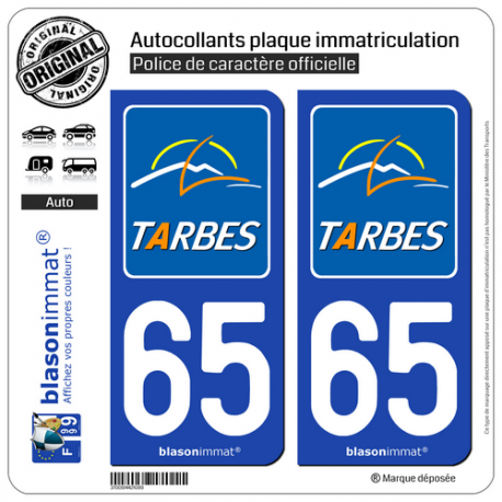 D/épartement blasonimmat 2 Autocollants Plaque immatriculation Auto 65 Hautes-Pyr/én/ées