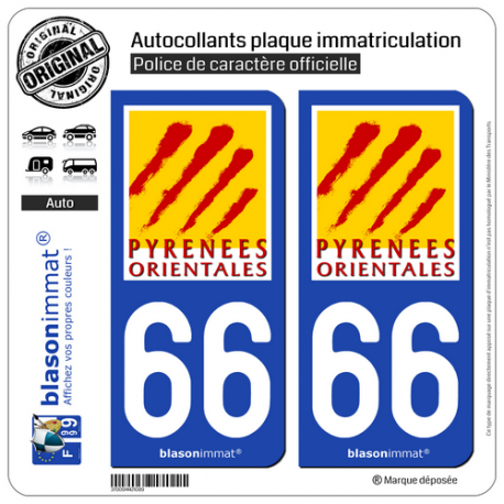 2 Autocollants plaque immatriculation Auto 66 Pyrénées-Orientales - Département