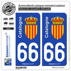 2 Autocollants plaque immatriculation Auto 66 Catalogne - Armoiries