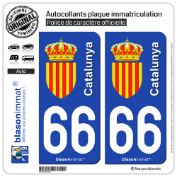 2 Autocollants plaque immatriculation Auto 66 Catalunya - Armoiries