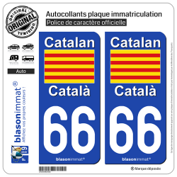 2 Autocollants plaque immatriculation Auto 66 Catalan - Drapeau
