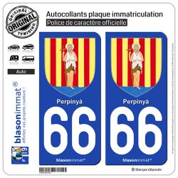 2 Autocollants plaque immatriculation Auto 66 Perpinyà - Armoiries