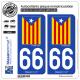 2 Autocollants plaque immatriculation Auto 66 Catalunya - Estelada Blava