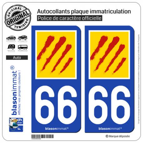 2 Autocollants plaque immatriculation Auto 66 Pyrénées-Orientales - Département II