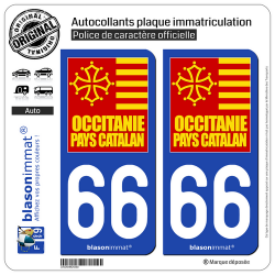 autocollant plaque immatriculation 66 occitanie pays catalan. Black Bedroom Furniture Sets. Home Design Ideas