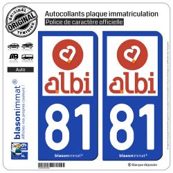 2 Autocollants plaque immatriculation Auto 81 Albi - Tourisme