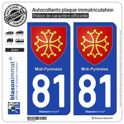 2 Autocollants plaque immatriculation Auto 81 Midi-Pyrénées - Armoiries