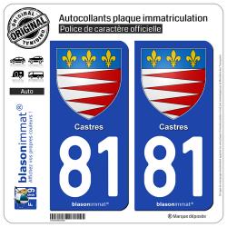 2 Autocollants plaque immatriculation Auto 81 Castres - Armoiries