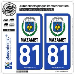 2 Autocollants plaque immatriculation Auto 81 Mazamet - Ville