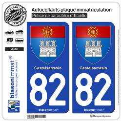 2 Autocollants plaque immatriculation Auto 82 Castelsarrasin - Armoiries