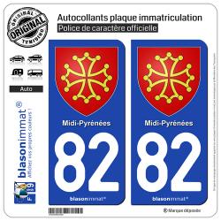 2 Autocollants plaque immatriculation Auto 82 Midi-Pyrénées - Armoiries