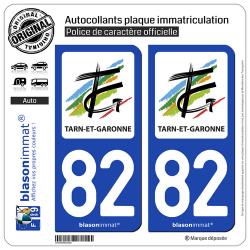 2 Autocollants plaque immatriculation Auto 82 Tarn-et-Garonne - Département
