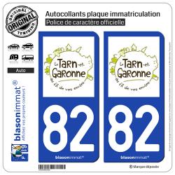 2 Autocollants plaque immatriculation Auto 82 Tarn-et-Garonne - Tourisme