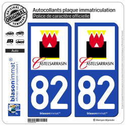 2 Autocollants plaque immatriculation Auto 82 Castelsarrasin - Ville