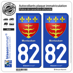 2 Autocollants plaque immatriculation Auto 82 Montauban - Armoiries