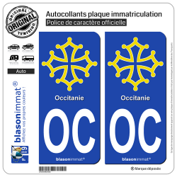 2 Autocollants plaque immatriculation Auto OC Occitanie - Croix