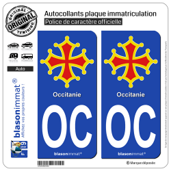 2 Autocollants plaque immatriculation Auto OC Occitanie - Croix II
