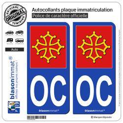 2 Autocollants plaque immatriculation Auto OC Occitanie - l'Authentique