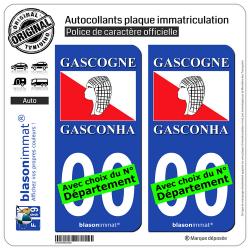2 Autocollants plaque immatriculation Auto Gascogne - Drapeau