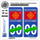2 Autocollants plaque immatriculation Auto Occitanie - Drapeau