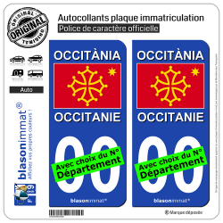 2 Autocollants plaque immatriculation Auto Occitanie - Drapeau