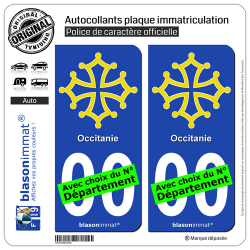 2 Autocollants plaque immatriculation Auto Occitanie - Croix