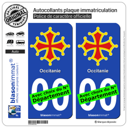 2 Autocollants plaque immatriculation Auto Occitanie - Croix II