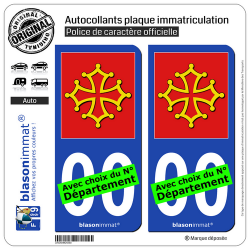 2 Autocollants plaque immatriculation Auto Occitanie - l'Authentique
