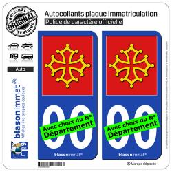 2 Autocollants plaque immatriculation Auto Occitanie - l'Authentique