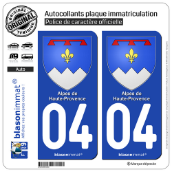 2 Autocollants plaque immatriculation Auto 04 Alpes de Haute-Provence - Armoiries
