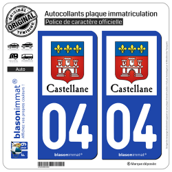 2 Autocollants plaque immatriculation Auto 04 Castellane - Ville