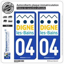 2 Autocollants plaque immatriculation Auto 04 Digne-les-Bains - Ville