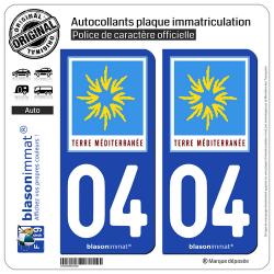 2 Autocollants plaque immatriculation Auto 04 PACA - Terre Méditerranée