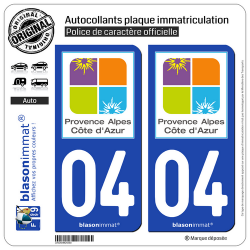 2 Autocollants plaque immatriculation Auto 04 PACA - Tourisme