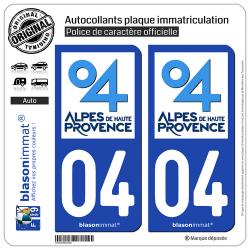 2 Autocollants plaque immatriculation Auto 04 Alpes de Haute-Provence - Département