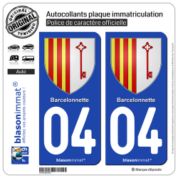 2 Autocollants plaque immatriculation Auto 04 Barcelonnette - Armoiries