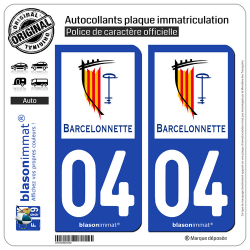 2 Autocollants plaque immatriculation Auto 04 Barcelonnette - Ville