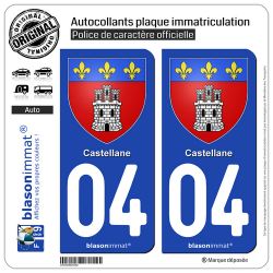 2 Autocollants plaque immatriculation Auto 04 Castellane - Armoiries